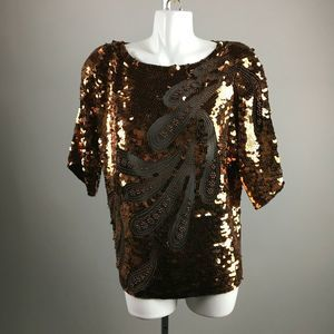 Vtg 80s Oleg Cassini Copper Sequin Blouse Small